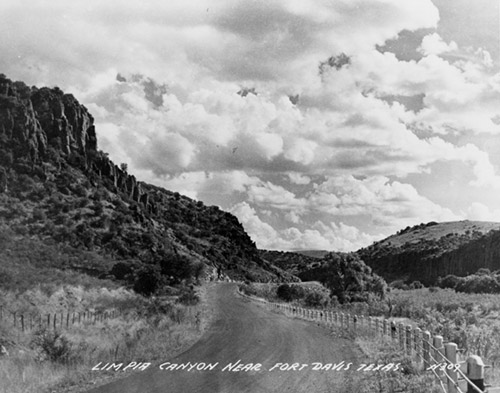 black and white photo of Limpia Canyon from 1948